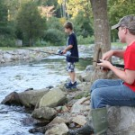 photo of boys fishing for trout in Kentucky trout stream