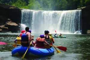 Photo of a Lake Cumberland Day Trip Idea to Cumberland Falls Waterfall in Kentucky