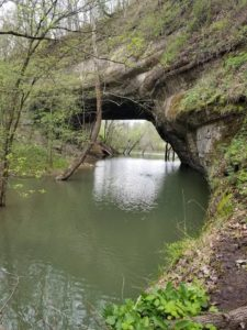 Creelsboro Natural Arch in Jamestown is sometimes flooded due to the high waters of the Cumberland River