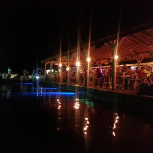 Photo of Wolf Creek Marina on Lake Cumberland at night with underwater lighting. Waterfront dining on Lake Cumberland.