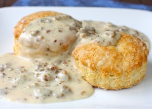 A photo of Kentucky biscuits and gravy at a Lake Cumberland restaurant