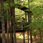Photograph of a couple standing on the back porch of a cabin in the woods at Lake Cumberland State Resort Park in Jamestown, Kentucky