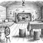 image of a black and white drawing of the inside of the log cabin in Little House in the Big Woods by Laura Ingalls Wilder