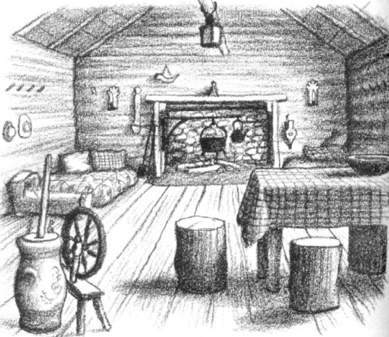 Image Of A Black And White Drawing The Inside Log Cabin In Little