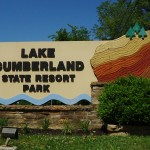 Photo of the Lake Cumberland State Resort Park sign that sits by Highway 127 in Jamestown, Kentucky