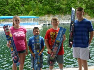Photo of kids that won prizes at the Lake Cumberland State Dock Kids Day Celebration