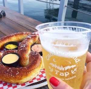 Photo of a giant pretzel and cold beer at a Lake Cumberland restaurant