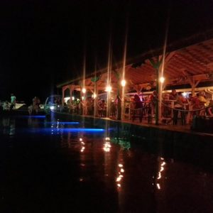 Photo of Wolf Creek Marina on Lake Cumberland at night with lots of underwater lighting