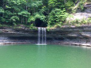 Photo of a fairly large waterfall on Lake Cumberland