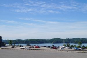 Photo overlooking Halcomb's Landing Boat ramp with ample parking