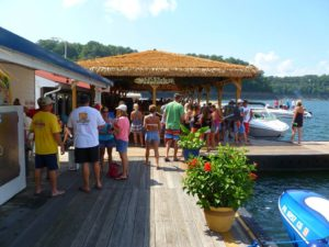 Photo of beautiful Wolf Creek Marina on Lake Cumberland. Tiki style restaurant with plenty of boat parking
