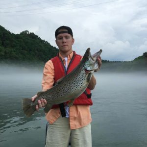 The Cumberland River below Wolf Creek Dam is the best place for trout fishing in Kentucky.